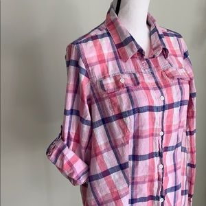 {Columbia} Plaid Button-up Collared Cotton Shirt